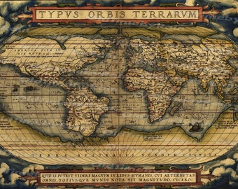 Vintage world map etsy vintage old world map ortelius 1570image download retro style designresource old map sciox Image collections