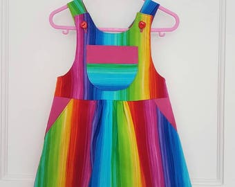 Rainbow dress, rainbow baby, dungaree dress, romper, UK seller