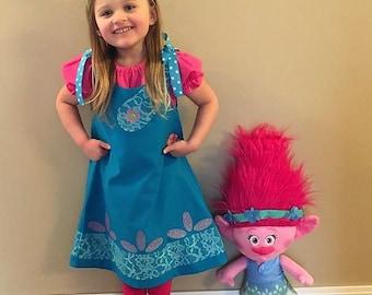 Poppy the Troll Costume, Poppy the Troll Dress, Poppy the Troll Birthday, Poppy Birthday, Troll Dress