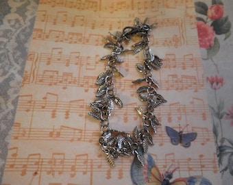 Antique silver Leaf Charm Bracelet