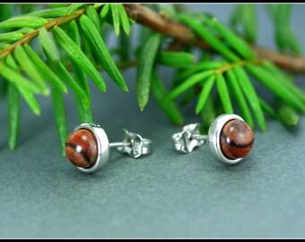 Small stud earrings, Sterling silver earring stud, Sterling silver stud earrings, Brown studs earrings, Small earring studs, Minimalist stud