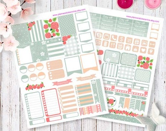 Printable Happy Planner Stickers, romantic roses for Happy planner and Erin Condren stickers