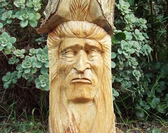 "Native American Indian Wood Carving Statue Home Decor 32"" x 6"""