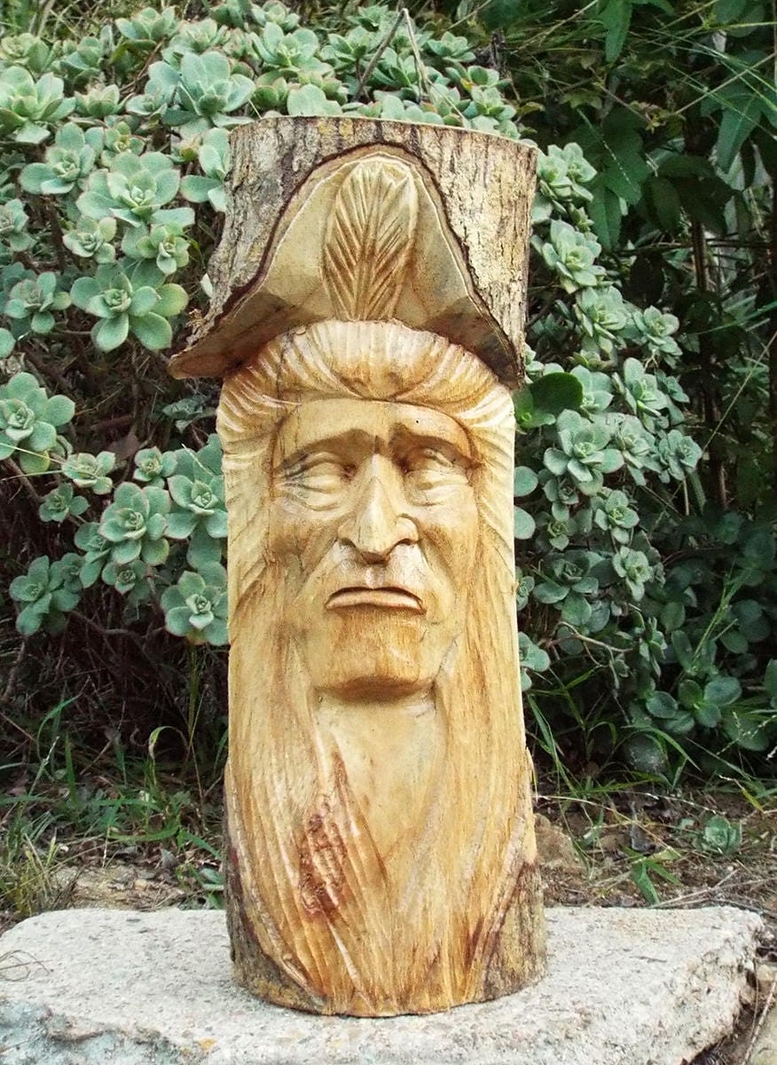 Native American Indian Wood Carving Statue Home Decor 32
