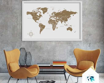 Cork world map etsy cork map cork board world gumiabroncs Images