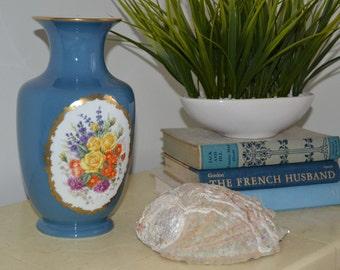 FRANKLIN PORCELAIN FLORAL Vase Vintage Gilded Vase Limited Edition 1982 Franklin Porcelain