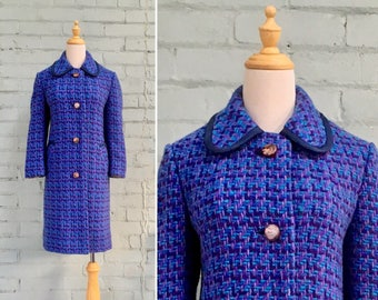 1960s blue wool coat / 60s Irish tweed coat / 1960s teal winter coat / 60s confetti tweed coat