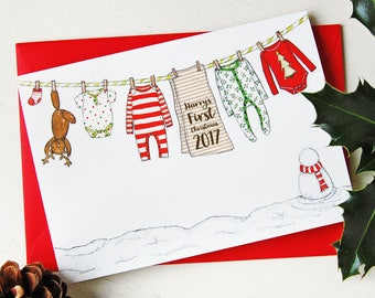 Baby's First Christmas Personalised Card – Festive Washing Line Illustration - New Baby Card - First Christmas Card – Festive Newborn Card