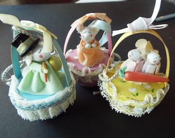 3 miniature Easter baskets ornaments bunny rabbit Enesco Easter tree