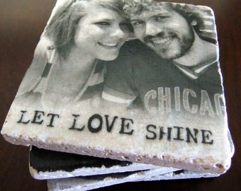 Personalized Photo Coasters/Tiles - Custom Coasters - Set of 4. Tumbled Marble 4in. x 4in.