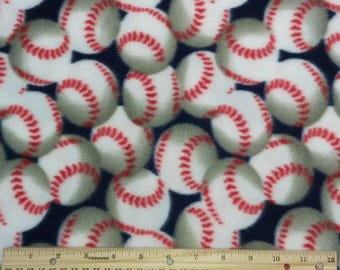 Baseballs on Navy Blue Background Fleece 1.25 yards