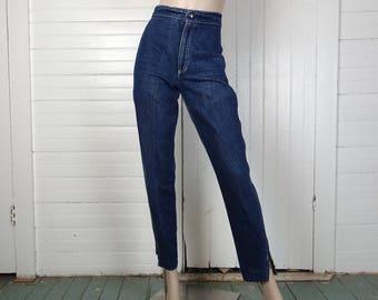 80s Zipper Jeans- 1980s Dark Blue Wash- High Waist, Tapered- Punk Rock New Wave Biker Denim- Vintage Novelty Skinny Jeans