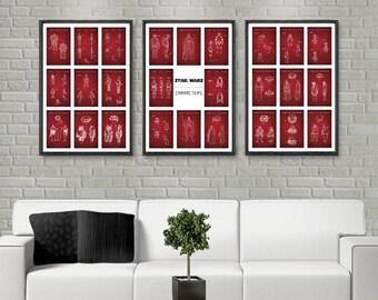 3 Poster set, Star Wars Characters, 26 patents, starwars inspired Darth Vader, R2D2, C3P0, Boba Fett, YODA, Storm Trooper, Star Wars poster