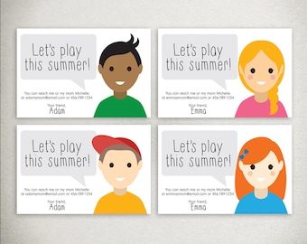 Summer Play Date Cards - 4x6 printable DIY download - customizable info and cartoon avatar character - Let's Play - info card - postcard