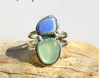 Hawaiian Beach Pottery & Aqua Beach Glass Set in Sterling Silver Handcrafted Ring - Size 6
