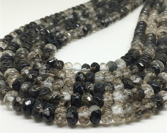 8x5mm Black Quartz Beads,Faceted Rondelle Beads,Gemstone Beads,Wholesale Beads
