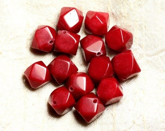 2PC - stone - red Jade beads faceted Nuggets 14-15mm 4558550008602 Cubes