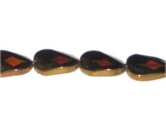 20 x 18mm Deep Gold Vintage-Style Polygon Glass Bead, approx. 6 beads