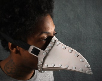 Pestis Riveted Plague Doctor half mask in White