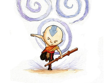 The Last Airbender Aang the Avatar Inspired Watercolor Print