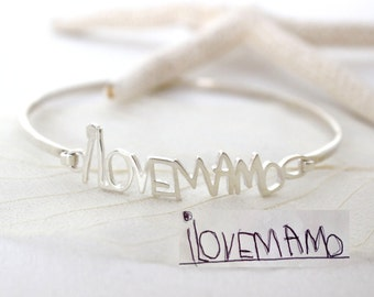 Children Handwriting Bangle/Personalized Handwriting Bangle in Sterling Silver/Signature Bangle/Bridesmaid Gift/Mother Gift BH05