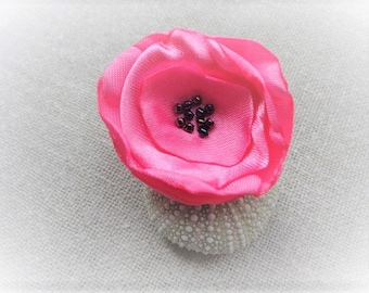 Ring fabric rose ring flower ring pink ring adjustable