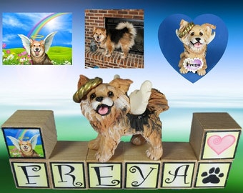 Custom made MEMORIAL dog or cat Sculpture from your Photos PERSONALIZED with your pet's name on blocks by Sally's Bits of Clay