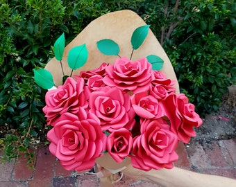 Red Rose Paper Bouquet - 12 stems
