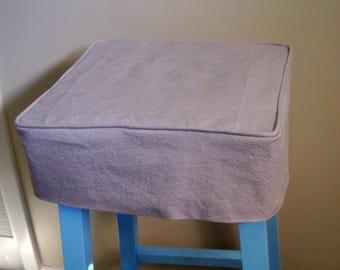 Linen Bar Stool Slipcover with welt cord, Square Barstool Cover, Washable Bar Stool Slipcover