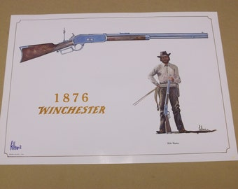 "1968 Fred Fellows ""1876 Winchester"" Rifle Print,Handsigned by The Artist"