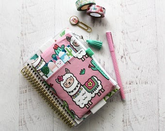 Llama planner - llama planner accessories - planner clip holder - mini planner bag - pink pencil case - llama zipper pouch