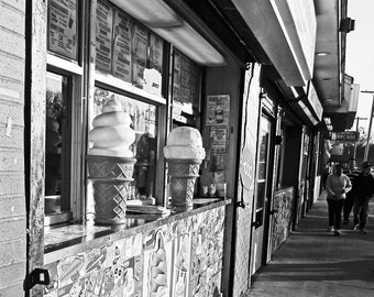 "Photo print, Ice Cream, 8x8"", black & White, New England photos, Salem MA, Salem Willows, Ice Cream cones, summer photos, storefronts"