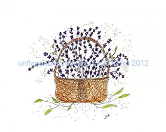Lavender and Baby's Breath Basket One  5 x 7 Blank Greeting Card with Matching Envelope