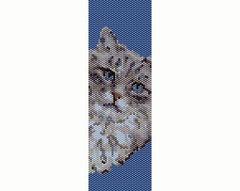 Blue Eyed Cat Peyote Bead Pattern, Bracelet Cuff, Seed Beading Pattern Miyuki Delica Size 11 Beads - PDF Instant Download