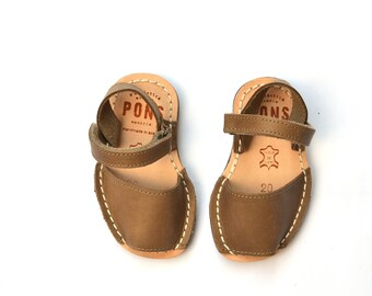 Brown/Taupe slingback kids sandals