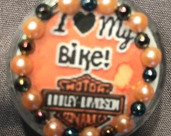 "Motorcycle/Biker Theme ""I (Heart) My Bike"" Retractable Badge/ID Holder"