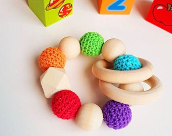 Baby Teether - Bright Natural Wooden Crochet Teether Rattle Montessori