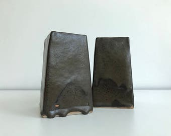 Set of 2 Handmade Brown Ceramic Vases