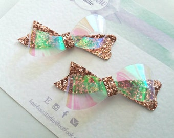 Rose Gold, Spring, Glitter Hair Bows, Bridal, Wedding, Bridesmaid,Small Bows, Headbands,Vinyl, Uk