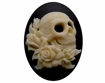 40x30 skull cameo zombie Lolita rose Cameo Day of the Dead jewelry sci fi skeleton gothic wedding gypsy halloween supply rockabilly 1pc 819x
