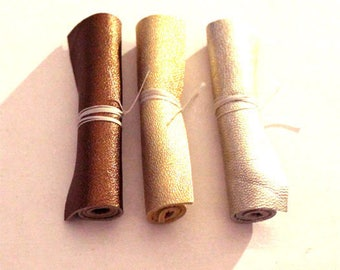 Lot IMOG 3 rectangle cut skin 6 x 10 luxury iridescent tones gold silver copper brown leather