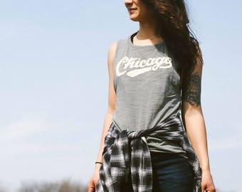 Chicago Retro Club Script Vintage Ladies Muscle Tank Top. Loose Fit olive slub tee. Shirt for Women. Illinois Midwest Pride.