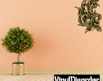 Floral Tree Branch Wall Decal - Wall Fabric - Vinyl Decal - Removable and Reusable - FloralCornerUScolor001ET