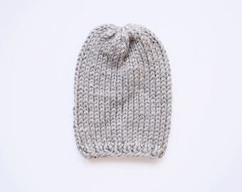 The Simple Slouch Hat  x  Shown in Gray  x  Knitted Slouchy Beanie