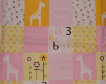 Pink and Yellow Giraffe XL Receiving Blanket