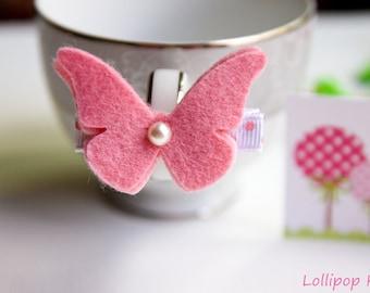 Baby Hair Clips Kids Hair Clips Toddler Hair Clips Butterfly Hair Clips Pink Wool Felt Butterfly Hair Clip Hair clips for fine hair