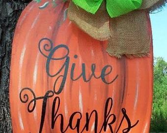 Pumpkin door hanger. fall door hanger. thanksgiving door hanger, fall wreath