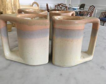 Vintage Mid Century Modern Padilla Stoneware Mugs - Set of 4