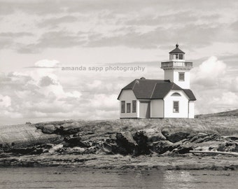 Patos Island Lighthouse, Puget Sound, WA black & white photograph