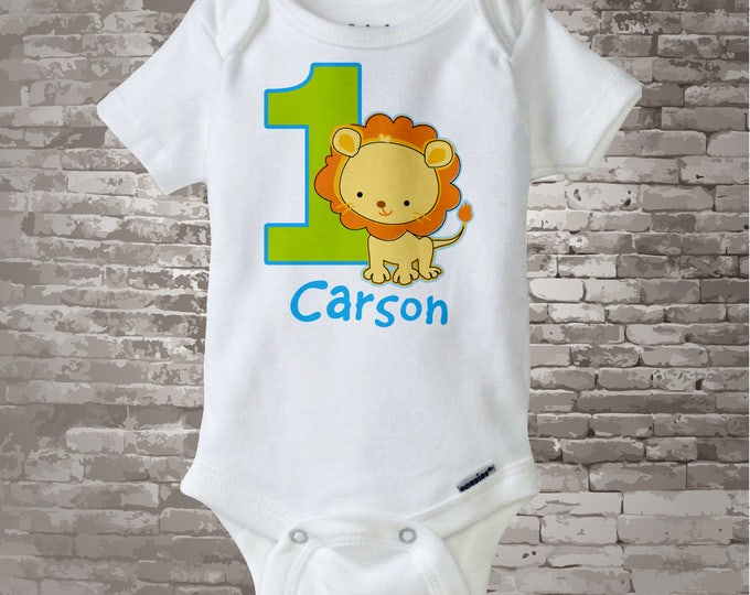 Personalized FIrst Birthday Lion Tee Shirt or Onesie with blue and green colors, 1st Birthday Lion tee, Safari Theme 10062014b